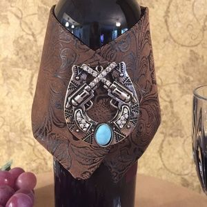 Dining - Wine Wrap Faux Tooled Leather &  Medallion of Guns